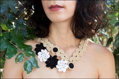 Crochet Flower Necklace. Beige Crochet Necklace  by InoriCreations