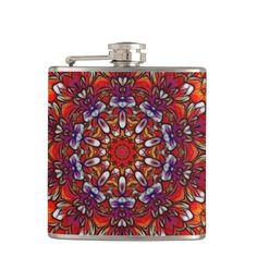 Orange and pink and purple flower petal kaleidoscope.