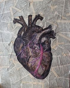 Passion's Heart, Mixed media Canvas, Anatomical heart, Traditional anatomy book drawing, 3D Veins, Aged paper, Hand drawn, Hand colored
