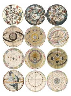 Vintage illustrations of astrological zodiac charts.