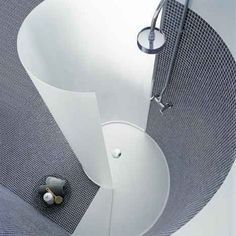 Modern beautiful curve....a modern bathroom's allowed in a traditional country house, right?!