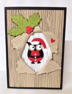Stampin Up - Santa Owl Owl Punch, Woodgrain embossing folder