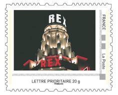 """Un des 4 timbres du collector """"80e anniversaire du Grand Rex"""", émission 20/10/12 © Phil@poste, La Poste, DR."""