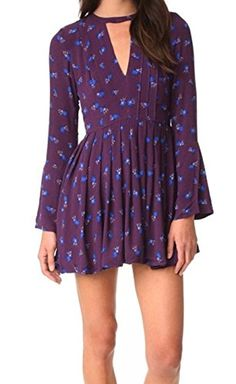 Free People Tegan Printed Mini Dress 0 Purple Combo *** Learn more by visiting the image link.