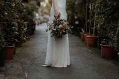Autumn wedding bouquet inspiration - burnt orange, green, white and yellow. Clifton Nurseries Greenhouse Wedding