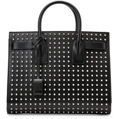 Saint Laurent Black Small Studded Sac De Jour Tote ($2,400) ❤ liked on Polyvore featuring bags, handbags, tote bags, totes, black, leather tote, studded tote, studded handbags, tote handbags and studded purse