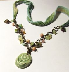 How does your garden grow? necklace in the Lima Beads Design Gallery #vintaj