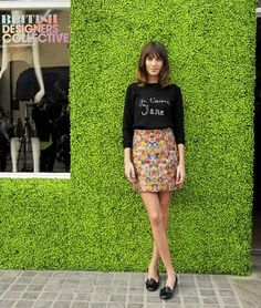 wear a floral skirt with an easy going loafers
