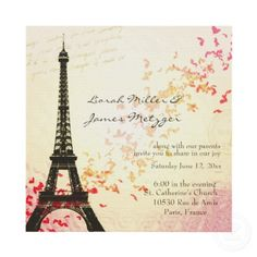 I love this Paris themed wedding invitation from www.zazzle.com. Gives a hint to the theme and looks so pretty!