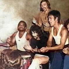 Bruce Lee with the cast of The Way of the Dragon