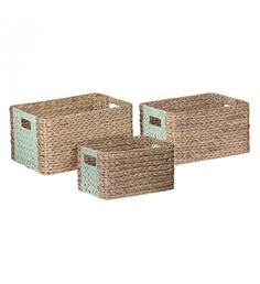 S_3 WATER HYACINTH BASKET IN TURQUOISE_NATURAL COLOR 41Χ31Χ23