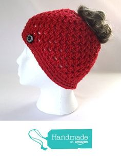Handmade Messy Bun Hat Bright Red Beanie Wood Button Ponytail Holder  Crochet Cloche. Vintage Names ... 401fcf90f1bf