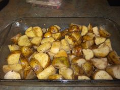 Easy roasted potatoes. Preheat oven to 450 degrees. Just take white or red potatoes and cut them into chuncks. Throw in a plastic bad with olive oil, 1 package of onion mushroom soup mix, sea salt, and ground pepper. Shake until all the potatoes are coated then throw into a baking pan and bake for 45 minutes or until potatoes are done.