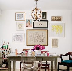 I want to do a mismatched gallery wall in our bedroom, but I'm not sure I've figured out the technique just interior designs home design house design design ideas Inspiration Wand, Interior Inspiration, Design Inspiration, Interior Ideas, Lucite Chairs, Mismatched Chairs, Lucite Furniture, Space Furniture, Lucite Desk