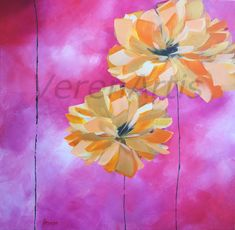Painting on Canvas Abstract Yellow Gold Flowers Pink Clouds Background Medium size Acrylic Original Floral Painting Acrylbilder Pink Painting, Bright Paintings, Pink Clouds, Shades Of Yellow, Abstract Flowers, Gold Flowers, Gold Paint, Pictures To Paint, Abstract Canvas