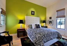 green-black-bedroom...one green wall...white or gray on others?