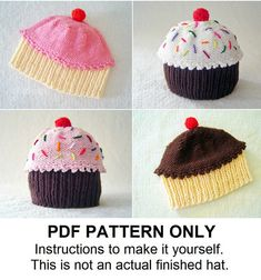 Knit Hat Knitting Pattern - Baby Cupcake Hat Pattern - Knit Hat Pattern - the CUPCAKES Hat (Newborn Baby Toddler Child & Adult sizes incl'd) on Etsy, $5.99 AUD