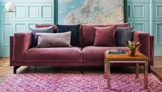 Clover | pink velvet sofa | purple sofa | velvet scatter cushions | midcentury style coffee table | IKEA Nockeby sofa with a velvet Bemz cover