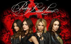 hot red and black backround with the main characters from #PLL