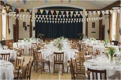 Village hall wedding with bunting