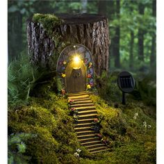 Light-Up Fairy Door and Stairs in Whimsical Accents