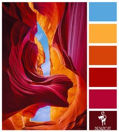 Antelope Canyon: Pink, Cerise, Red, Orange, Gold, Blue - Colour Inspiration Pallet