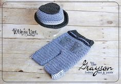 Newborn Fedora Hat an PantsGrayson by whimsylaneboutique on Etsy, $45.00