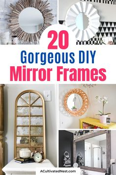 20 Fantastic DIY Mirror Frame Ideas- If you have a space that needs some updating, consider adding one of these DIY mirror frames! There are so many gorgeous DIY mirrors that would look perfect in your bedroom, office, bathroom, or any other space! | #DIYs #diyProjects #diyMirrors #decor #ACultivatedNest Mirror Makeover, Diy Mirror, Office Bathroom, Bedroom Office, Diy Home Decor Projects, Decor Ideas, Homemade Mirrors, Farmhouse Bathroom Mirrors, Driftwood Mirror