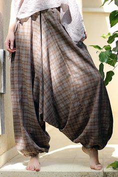 Unisex Yoga Harem Pants, Afghani pants, Sarouel Homme, Drop Crotch pants, Mens yoga pants, Women  Harem Pants with pockets, brown checkered
