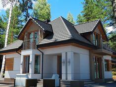 Projekt domu Śnieżka N 129,49 m2 - koszt budowy 220 tys. zł - EXTRADOM House Outside Design, House Design, Modern Bungalow House, Home Fashion, Modern Architecture, House Plans, Exterior, Cabin, How To Plan