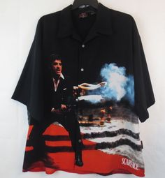 SCARFACE Dragonfly Size 4X Button Front Shirt Tony Montana AL PACINO Plus XXXXL  #Dragonfly #ButtonFront