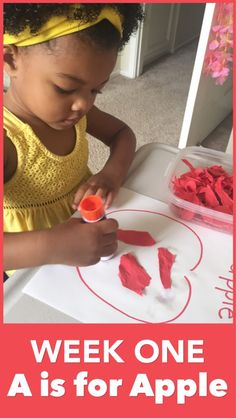 """Homeschooling a two-year-old is fun and also lays a foundation for future learning. For week one, we explored the theme """"A is for Apple""""!"""