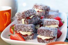 Lamingtons with white chocolate cream - Recipes . Aussie Food, Australian Food, Australian Recipes, Fancy Cakes, Mini Cakes, Tea Cakes, Chocolate Cream, Summer Treats, Cream Recipes