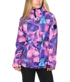Blast off to the mountains with this tailored fit snowboard jacket made with a water-resistant galaxy geo print exterior and warm poly insulated fill.