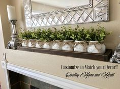 🌺🌺🌺FLOWERS OR BOXWOOD INCLUDED!!!🌺🌺🌺 This is a handmade wood tray with 8 pint elite painted mason jars. This would perfect for a coffee or dinner table. Each mason jar is hand painted, distressed and sealed. The box is handmade from start to finish with excellent craftsmanship.