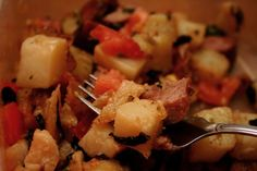 Kielbasa Potato Hash.   This recipe is absolutely decadent.  No counting calories here.  Super yummy.  Word of advice.  DO NOT LEAVE OUT THE BACON! It makes the dish!
