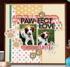 2017 Paw-fect layout from Scrapbook & Cards Magazine, Fall page layout from Scrapbook & Cards Magazine, Fall page 45 Baby Boy Scrapbook, Dog Scrapbook Layouts, Love Scrapbook, Scrapbook Cards, Scrapbooking Ideas, Scrapbook Designs, Dog Cards, Dogs And Kids, Scrapbook Embellishments