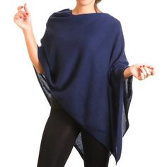 Midnight Navy Blue Knitted Cashmere Poncho