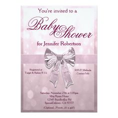 Pink Baby Shower Customized Invitation Card
