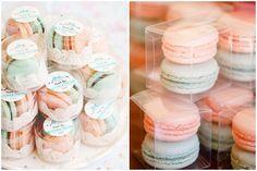 Photo by BossaCafez  via Flickr  (left); Photo via The Eventful Life Chicago  (right)  Macaron Wedding Favor Giveaway Souvenir Ideas