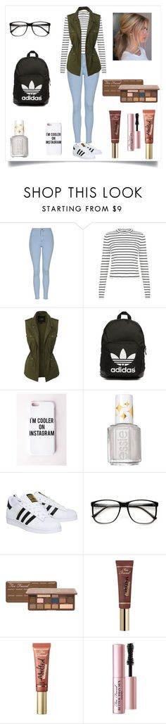 """Exactly what I wore to school today!"" by erica-marie-edwards ❤ liked on Polyvore featuring Topshop, LE3NO, adidas Originals, Missguided, Essie, adidas, Too Faced Cosmetics, women's clothing, women and female"