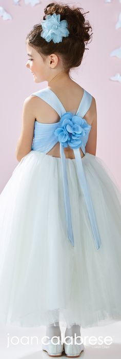 Joan Calabrese for Mon Cheri - Spring 2017 - Style No. 117355 - light blue & ivory satin and tulle flower girl dress