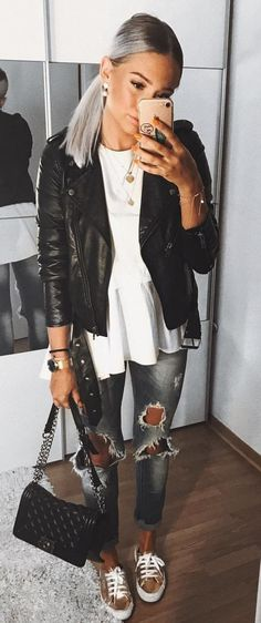 #fall #outfits Black Leather Jacket + White Top + Destroyed Jeans