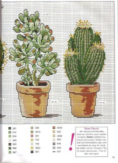 Cacti right side Cactus Cross Stitch, Cross Stitch Tree, Cross Stitch Borders, Cross Stitch Flowers, Cross Stitch Charts, Cross Stitch Designs, Cross Stitching, Cross Stitch Embroidery, Embroidery Patterns