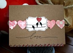 kraft paper (of course) a row of hearts and birds on the label. What a great idea,  From the Cocoa Daisy blog