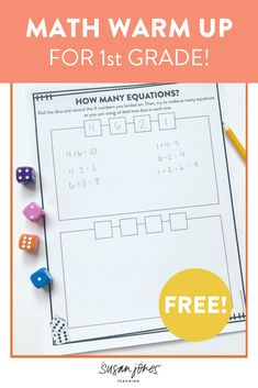 Grab some dice because that's all you need for this simple and effective math warm up! Students simply roll the dice and see how many equations they can make. This is a great activity to play in both small groups or whole group with the whole class to practice addition and subtraction. Head on over to the blog post to grab some FREE recording sheets!