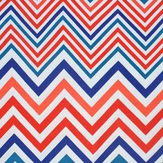 "Colorful Linear Chevron Cotton Spandex Knit Fabric - Colors of teal blue, royal blue, and orange linear chevron zig zag stripe design pops on a white cotton spandex knit.  Fabric is light to mid weight, with a nice 4 way stretch.  Chevrons measure 5 1/2"".  ::  $6.50"