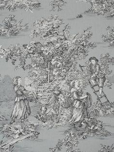 Silver Toile de jouy   Harvest Pattern                                                                                                                                                      More
