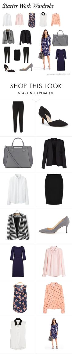 """""""Starter Work Wardrobe"""" by neepa-sikdar ❤ liked on Polyvore featuring Theory, Sole Society, Jimmy Choo, Uniqlo, Warehouse, Manolo Blahnik, H&M, Miu Miu, W118 by Walter Baker and Diane Von Furstenberg"""