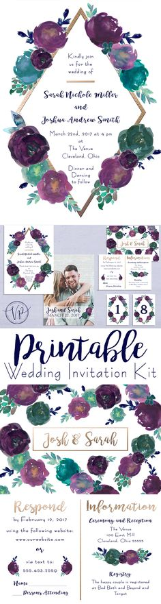 Watercolor floral printable wedding invitation kit in navy blue, purple, rose gold and teal